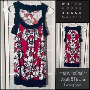 White House Black Market Sleeveless Red Floral